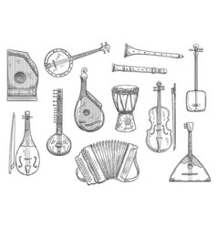 Musical instruments sketch design vector
