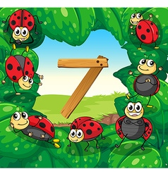 Number 7 with 7 ladybugs on leaves vector