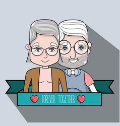 Old people coupe together with ribbon message vector