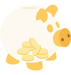 Orange piggy bank with coins vector image