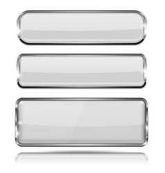 Oval and rectangle white 3d buttons with chrome vector