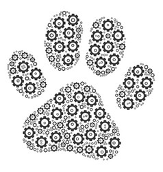 Paw footprint collage of cog vector