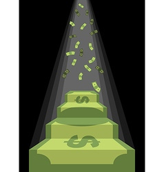 Pedestal out of money Ladder to wealth of dollars vector