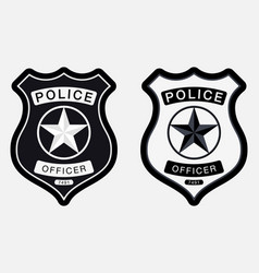 Police badge simple monochrome sign vector