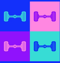 Pop art line chassis car icon isolated on color vector