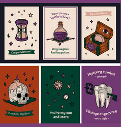 Postcard set gigt and tag in hippie magic style vector