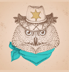 retro hipster bird owl hand drawing muzzle vector image