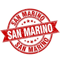San Marino red round grunge vintage ribbon stamp vector