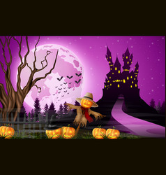 scary castle with scarecrow and full moon vector image