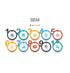 Sem infographic design template search engine vector