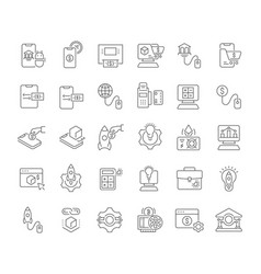 set line icons business technology vector image