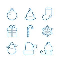 set of happy new year icons blue isolated flat vector image
