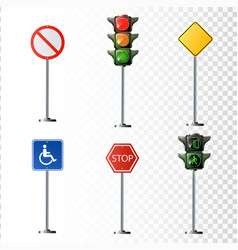 set of road signs isolated on vector image