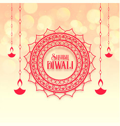 Shubh happy diwali festival greeting design vector