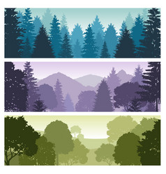 Silhouette forest panorama skyline with pine trees vector