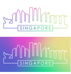 singapore skyline colorful linear style vector image