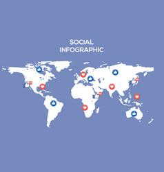 social media map internet community vector image