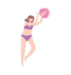 summer woman with bikini playing with ball cartoon vector image