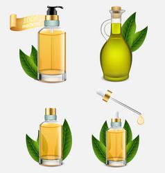 tea tree oil bottle set realistic vector image