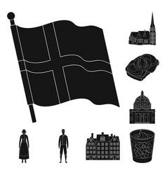 Traveling in denmark black icons in set collection vector