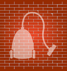 vacuum cleaner sign whitish icon on brick vector image