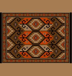 Vintage carpet in brown beige orange and black vector