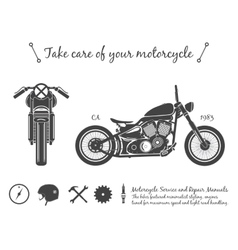Vintage motorcycle infographic old-school bike vector