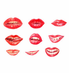 Watercolor lips set of different emotions white vector