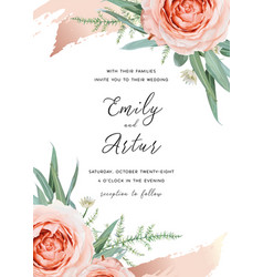 wedding cute invite card floral design blush peach vector image