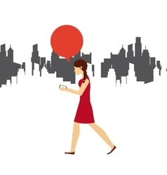 Woman walking icon vector