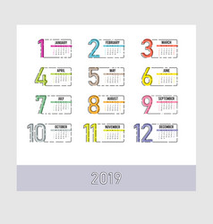 year 2019 plain contemporary monthly calendar vector image