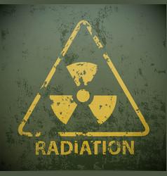 Yellow warning sign for radioactivity vector