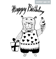 birthday bear vector image