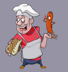 cartoon surprised man cook holding a bread vector image vector image