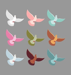 Color pigeons Set of colorful flying birds Dove vector image