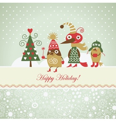 cute funny birds for greeting card vector image