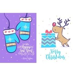 Funny new year set Christmas greeting card vector image vector image
