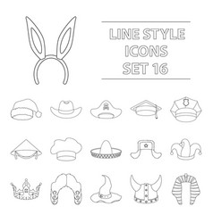 hats set icons in outline style big collection of vector image