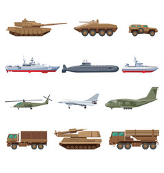 military vehicles set vector image vector image