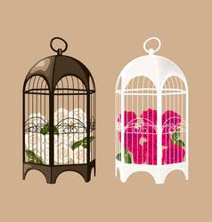 set of decorative black and white birdcages with vector image