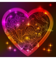 Valentine bright heart with floral ornament vector image vector image