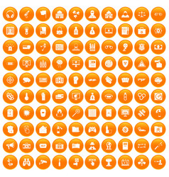 100 hacking icons set orange vector image vector image