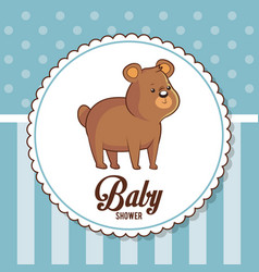 baby shower card invitation cute bear vector image vector image