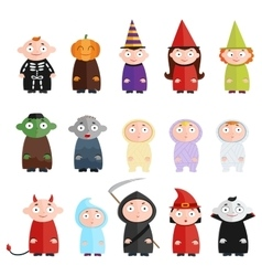 Children with costumes witch mummy ghost death vector image