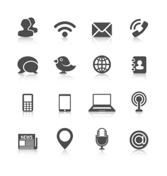 Communication Icons with Reflection vector image