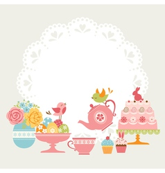 Easter tea party vector image vector image