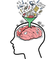 filling a brain with funnel vector image vector image