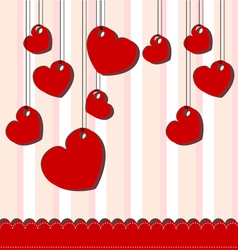Valentine day card with hanged hearts vector image vector image