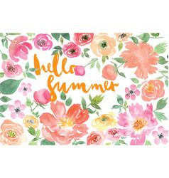 Watercolor flower summer vector