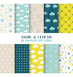 10 Seamless Patterns - Snow and Clouds vector image